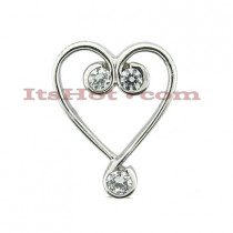 14k Gold Round Diamond Heart Pendant 0.12ct
