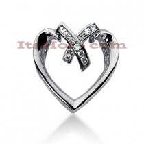 14k Gold Round Diamond Heart Pendant 0.22ct