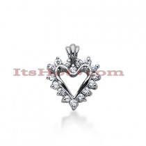14k Gold Round Diamond Heart Pendant 0.24ct
