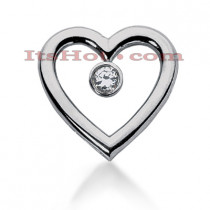 14k Gold Round Diamond Heart Pendant 0.25ct