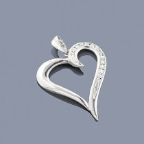 14K Gold Round Diamond Heart Pendant 0.30ct