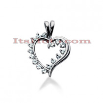 14k Gold Round Diamond Heart Pendant 0.32ct