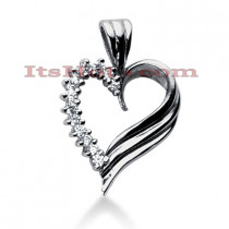 14k Gold Round Diamond Heart Pendant 0.39ct