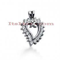 14k Gold Round Diamond Heart Pendant 0.57ct