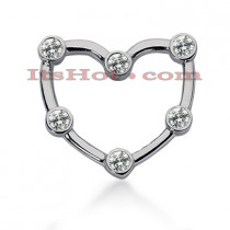14k Gold Round Diamond Heart Pendant 0.60ct