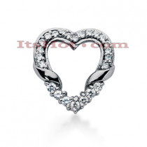 14k Gold Round Diamond Heart Pendant 0.62ct