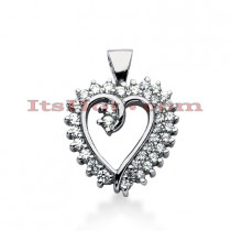 14k Gold Round Diamond Heart Pendant 0.68ct