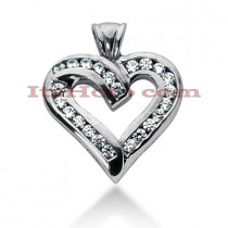 14k Gold Round Diamond Heart Pendant 0.69ct