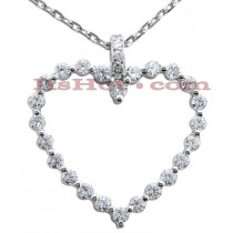 14k Gold Round Diamond Heart Pendant 1.28ct