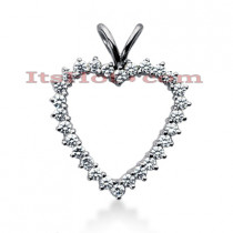 14k Gold Round Diamond Heart Pendant 1.40ct