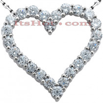 14k Gold Round Diamond Heart Pendant 1.68ct