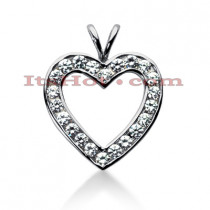 14k Gold Round Diamond Heart Pendant 1.98ct