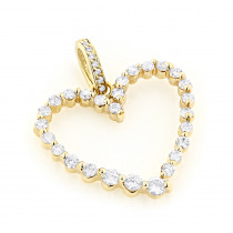 14k Gold Round Diamond Heart Pendant 1ct