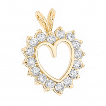 14k Gold Round Diamond Heart Pendant 2.40ct