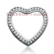 14k Gold Round Diamond Heart Pendant 3.60ct
