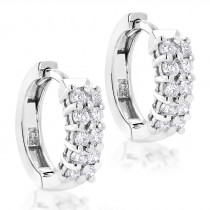 14K Gold Round Diamond Huggie Earrings 0.44ct