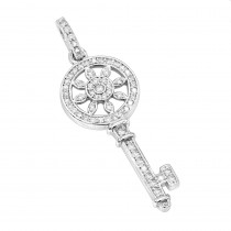 14K Gold Round Diamond Key Pendant 0.33ct
