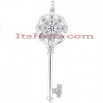 14K Gold Round Diamond Key Pendant 0.76ct
