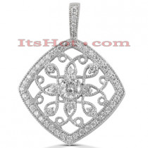 14K Gold Round Diamond Kite Pendant 0.82ct