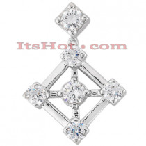14K Gold Round Diamond Kite Pendant 1ct