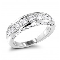 Thin 14K Gold Round Diamond Ladies Wedding Ring 1.3ct