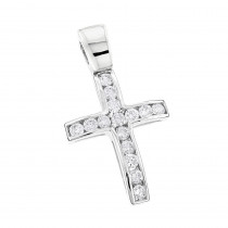 14K Gold Round Diamond Mini Cross Pendant 0.85ct