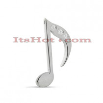 14K Gold Round Diamond Musical Note Pendant 0.06ct