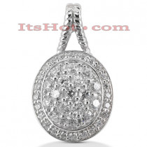 14K Gold Round Diamond Oval Pendant 1.67ct