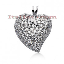 14k Gold Round Diamond Pave Heart Pendant 1.44ct