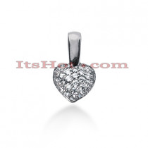 14k Gold Round Diamond Pave Heart Pendant 2.06ct