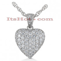 14k Gold Round Diamond Pave Heart Pendant 3ct