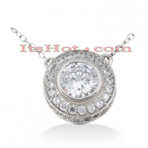 14K Gold Round Diamond Pendant 1.19ct