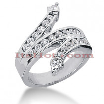 14K Gold Round Diamond Right Hand Ring 0.90ct