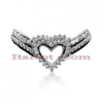 14k Gold Round Diamond Winged Heart Pendant 2.40ct