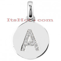 14K Gold Round Diamonds Initial Pendant 0.13ct
