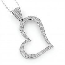 14K Gold Round Pave Diamond Heart Pendant 0.5ct