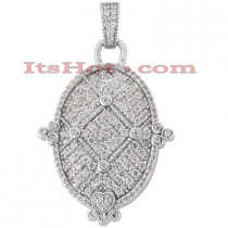 14K Gold Round Pave Diamond Oval Pendant 1.09ct