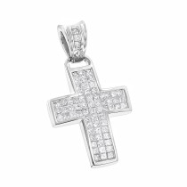 14K Gold Small Diamond Cross Pendant 1.1 ct