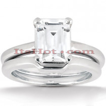 14K Gold Solitaire Engagement Ring Set 0.50ct