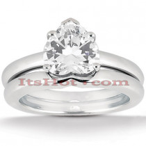 14K Gold Solitaire Engagement Ring Set 0.75ct