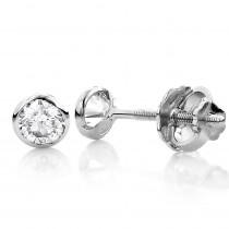 14K Gold Solitaire Round Diamond Bezel Stud Earrings 1.5ct