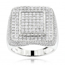 14K Gold Square Mens Diamond Ring 2 ct Hip Hop Rings