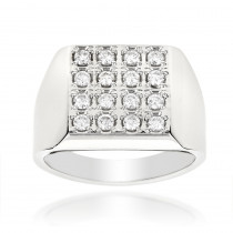 14K Gold Square Shaped Mens Round Diamond Ring 0.88ct