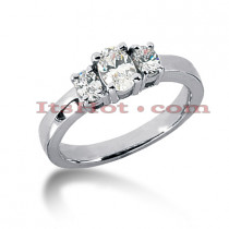 14K Gold Three Stone Diamond Engagement Ring 0.50ct