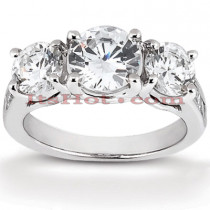 14K Gold Three Stone Diamond Engagement Ring 0.98ct
