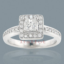 Affordable Halo Round Princess Cut Diamond Engagement Ring 0.68ct 14k Gold