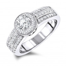 Halo 1 Carat Unique Round Diamond Engagement Ring for Women in 14k Gold