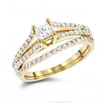 14K Gold Unique Diamond Engagement Ring Set 0.61ct
