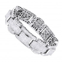 14K Gold Unique Princess Cut Diamond Bracelet for Men 30ct by Luxurman