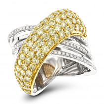 14K Gold Unique White Yellow Diamond Cocktail Ring for Women 3.5ct LUXURMAN